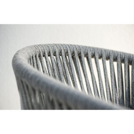 """Jati&Kebon """"Fortuna"""" Dining-Sessel, Gestell Aluminium weiß, Rope straight weaving hellgrau melange"""