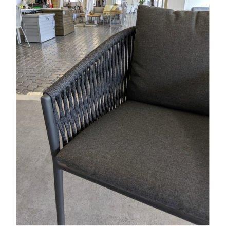 Jati&Kebon Sessel Fortuna, Gestell Aluminium charcoal, Sitz&Rücken Rope schwarz