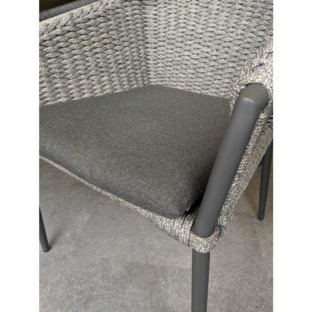 "Jati&Kebon Sessel ""Fortuna"" press weaving, Gestell Aluminium charcoal, Sitz & Rücken Rope grau"