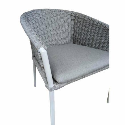 "Jati&Kebon Sessel ""Fortuna"" press weaving, Gestell Aluminium weiß, Sitz & Rücken Rope light grey"