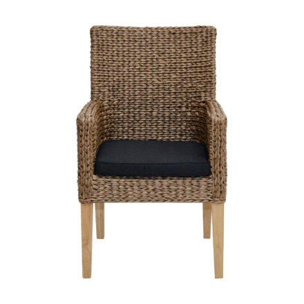 """Ploß Sessel """"Lotus"""", gedrehtes Polyrattangeflecht natur, Sitzkissen schwarz"""