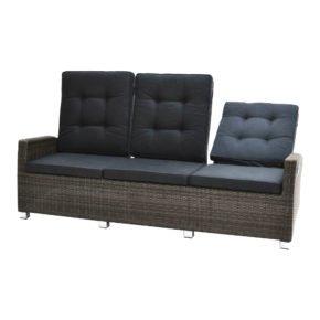 """Ploß """"Rocking"""" Loungesofa 3-Sitzer, Polyrattangeflecht grau-braun meliert inkl. Sitz- und Rückenpolster anthrazit"""