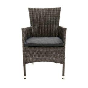 "Ploß ""Rocking Basic"" Stapelsessel mit Aluminiumrahmen, Polyrattangeflecht doppel-halbrund grau-braun meliert inkl. Sitzpolster anthrazit"