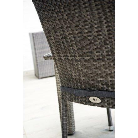 "Ploß ""Rocking Basic"" Stapelsessel mit Aluminiumrahmen, Polyrattangeflecht doppel-halbrund grau-braun meliert"