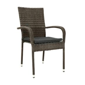 """Ploß """"Rocking Basic"""" Stapelstuhl mit Stahlrahmen, Polyrattangeflecht doppel-halbrund grau-braun-meliert inkl. Sitzpolster anthrazit"""