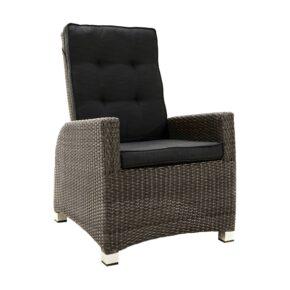 """Ploß """"Rocking Comfort"""" Speise-/Loungesessel, Polyrattangeflecht doppel-halbrund grau-braun-meliert inkl. Sitz- und Rückenpolster anthrazit"""