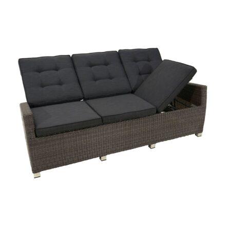 """Ploß """"Rocking Comfort"""" Speise-/Loungesofa 3-Sitzer, Polyrattangeflecht doppel-halbrund grau-braun-meliert inkl. Sitz- und Rückenpolster anthrazit"""