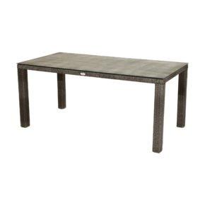 """Ploß """"Rocking"""" Diningtisch 170x90 cm, Alurahmen mit Polyrattangeflecht doppel-halbrund grau-braun-meliert, Glas-Tischplatte Steinoptik"""