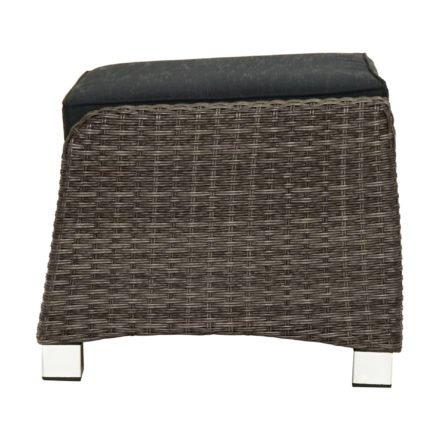"""Ploß """"Rocking"""" Fußhocker zu Loungesessel, Polyrattangeflecht doppel-halbrund grau-braun-meliert inkl. Sitzpolster anthrazit"""