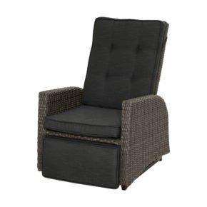 """Ploß """"Rocking"""" Funktionssessel, Polyrattangeflecht doppel-halbrund grau-braun-meliert inkl. Sitz- und Rückenpolster anthrazit"""