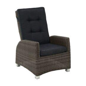 """Ploß """"Rocking"""" Loungesessel, Polyrattangeflecht doppel-halbrund grau-braun-meliert inkl. Sitz- und Rückenpolster anthrazit"""