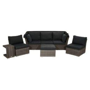 """Ploß """"Rocking"""" Loungeset mit Sonnendach, Polyrattangeflecht doppel-halbrund grau-braun-meliert inkl. Sitz- und Rückenpolster anthrazit"""