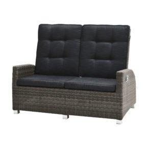 """Ploß """"Rocking"""" Loungesofa 2-sitzig, Polyrattangeflecht doppel-halbrund grau-braun-meliert inkl. Sitz- und Rückenpolster anthrazit"""