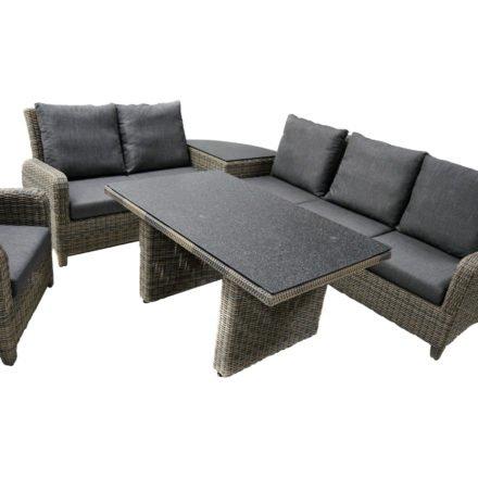 """Ploß """"Roxanne"""" Ecklounge-Garnitur 6-tlg., Untergestell Aluminium, Polyrattan-Geflecht halbrund grau-natur"""