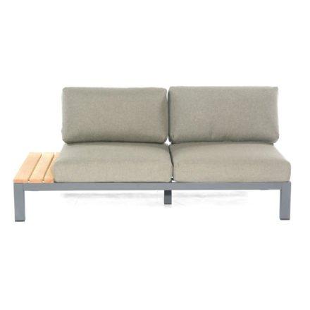 "SonnenPartner 2-Sitzer Eckmodul links ""Equila"", Gestell Aluminium anthrazit, Ablage Teakholz, Textilgewebe taupe"