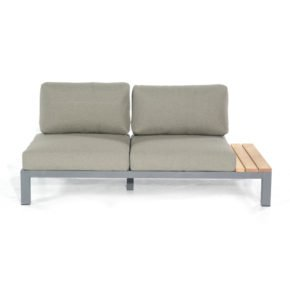 "SonnenPartner 2-Sitzer Eckmodul rechts ""Equila"", Gestell Aluminium anthrazit, Ablage Teakholz, Textilgewebe taupe"