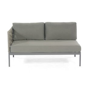 "SonnenPartner Lounge-2-Sitzer Eckteil links ""Vogue"", Gestell Aluminium, Rundgeflecht Polyrope grau"