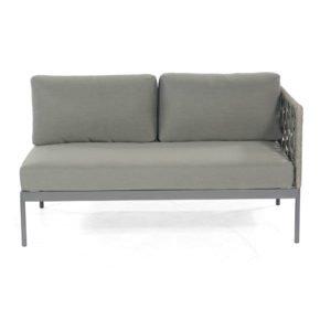 """SonnenPartner Lounge-2-Sitzer Eckmodul rechts """"Vogue"""", Gestell Aluminium, Rundgeflecht Polyrope grau"""