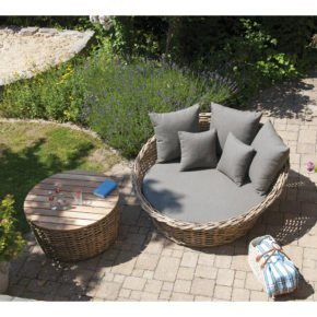 "SonnenPartner Loungebett ""Sands"", Gestell Aluminium, Geflecht Polyrattan Light Oaks, Kissen taupe"