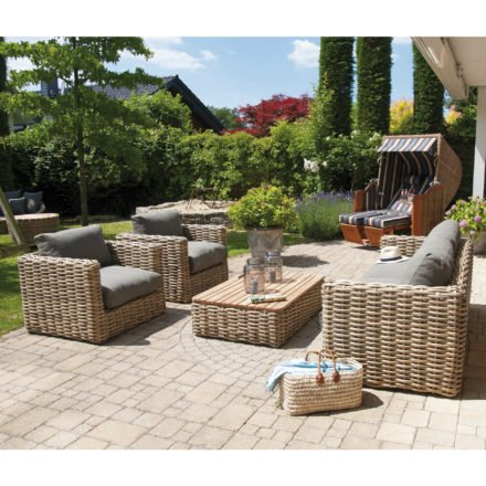 "SonnenPartner Loungeserie ""Sands"", Gestell Aluminium, Geflecht Polyrattan Light Oaks, Kissen taupe"