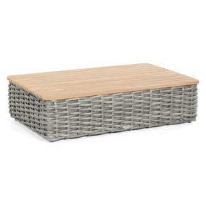 """SonnenPartner Loungetisch rechteckig """"Sands"""", Gestell Aluminium, Geflecht Polyrattan charcoal, Tischplatte Teakholz"""