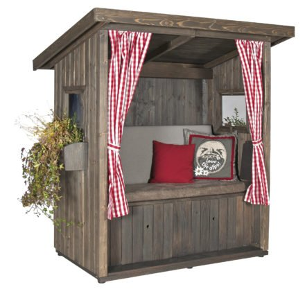 "SonnenPartner Outdoor-Lounge ""Hüttenliebe"", Fichtenholz gebürstet altholzgrau, Polsterpaket ""Alpenrauschen"""