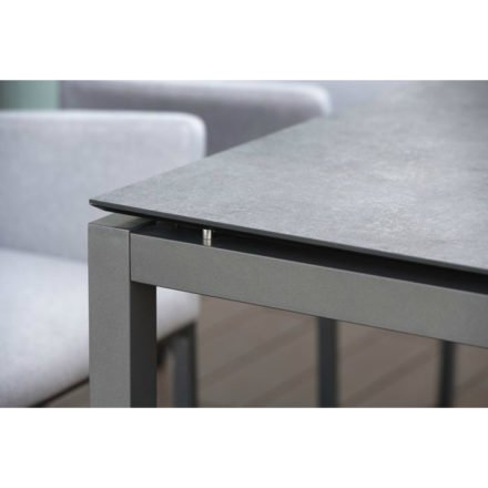 Stern Gartentisch, Gestell Aluminium anthrazit, Tischplatte HPL metallic grau