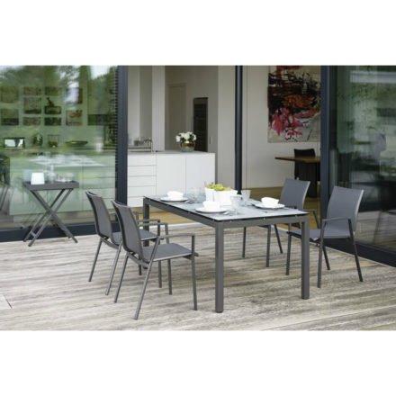 Stern Gartentisch, Gestell Aluminium anthrazit, Tischplatte HPL nordic green, Größe 160x90 cm