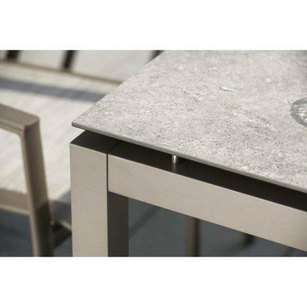 Stern Gartentisch, Gestell Aluminium taupe, Tischplatte HPL Vintage stone Größe 160x90 cm
