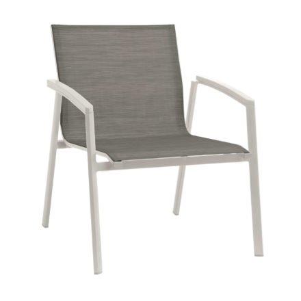 "Stern Loungesessel ""New Top"", Gestell Aluminium weiß, Textilgewebe silberfarben, Armlehnen weiß"