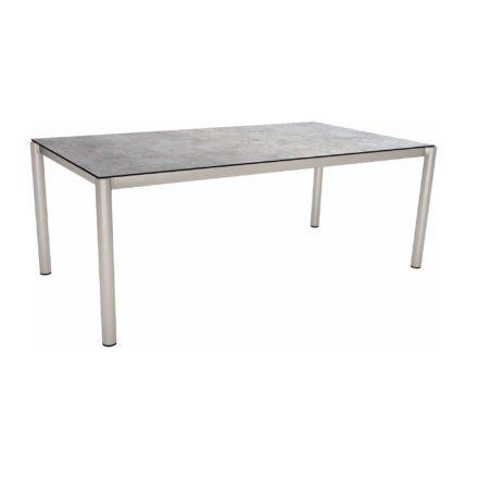 Stern Tischsystem, Gestell Edelstahl Rundrohr, Tischplatte HPL Metallic grau, 200x100 cm
