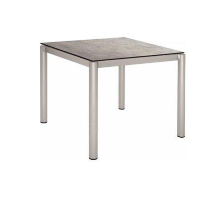 Stern Tischsystem, Gestell Edelstahl Rundrohr, Tischplatte HPL Metallic grau, 90x90 cm