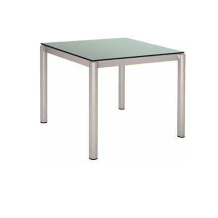 Stern Tischsystem, Gestell Edelstahl Rundrohr, HPL Nordic green, 90x90 cm