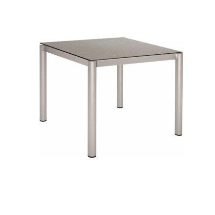 Stern Tischsystem, Gestell Edelstahl Rundrohr, Tischplatte HPL Uni grau, 90x90 cm