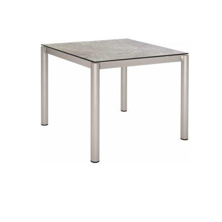 Stern Tischsystem, Gestell Edelstahl Rundrohr, Tischplatte HPL Vintage stone, 90x90c m