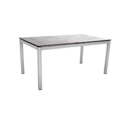Stern Tischsystem, Gestell Edelstahl Vierkantrohr, Tischplatte HPL Metallic grau, 160x90 cm