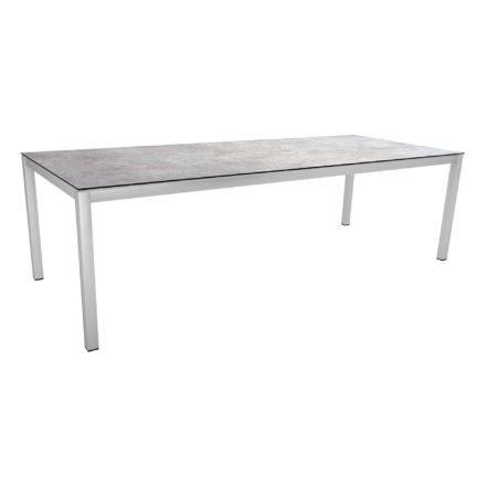 Stern Tischsystem, Gestell Edelstahl Vierkantrohr, Tischplatte HPL Metallic grau, 250x100 cm