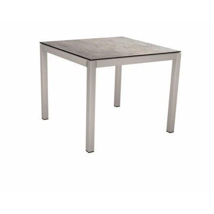 Stern Tischsystem, Gestell Edelstahl Vierkantrohr, Tischplatte HPL Metallic grau, 80x80 cm