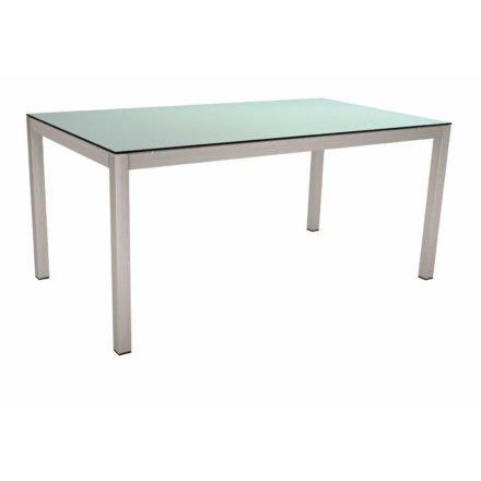 Stern Tischsystem, Gestell Edelstahl Vierkantrohr, Tischplatte HPL Nordic green, 160x90 cm
