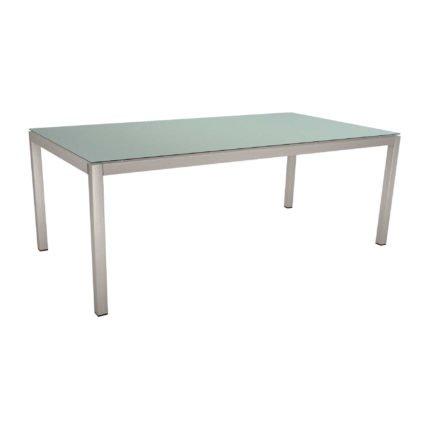 Stern Tischsystem, Gestell Edelstahl Vierkantrohr, Tischplatte HPL Nordic green, 200x100 cm