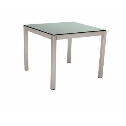 Stern Tischsystem, Gestell Edelstahl Vierkantrohr, Tischplatte HPL Nordic green, 80x80 cm