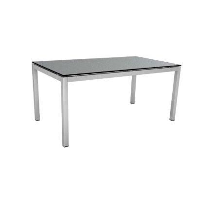 Stern Tischsystem, Gestell Edelstahl Vierkantrohr, Tischplatte HPL Uni grau, 160x90 cm