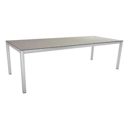 Stern Tischsystem, Gestell Edelstahl Vierkantrohr, Tischplatte HPL Uni grau, 250x100 cm