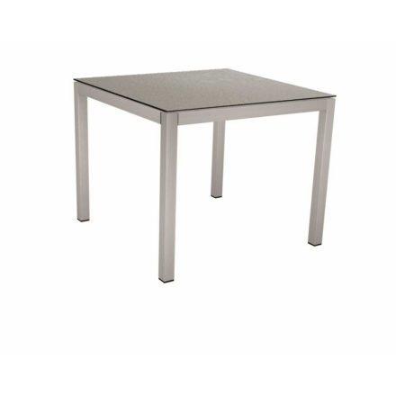 Stern Tischsystem, Gestell Edelstahl Vierkantrohr, Tischplatte HPL Uni grau, 80x80 cm