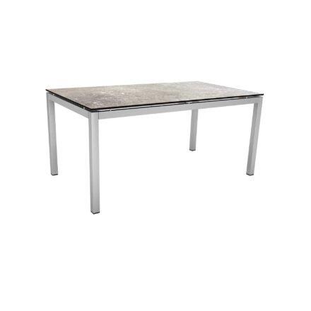 Stern Tischsystem, Gestell Edelstahl Vierkantrohr, Tischplatte HPL Vintage stone, 160x90 cm