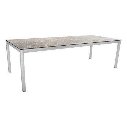 Stern Tischsystem, Gestell Edelstahl Vierkantrohr, Tischplatte HPL Vintage stone, 250x100 cm