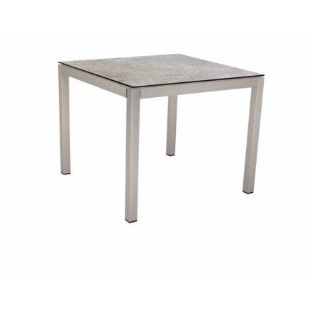 Stern Tischsystem, Gestell Edelstahl Vierkantrohr, Tischplatte HPL Vintage stone, 80x80 cm