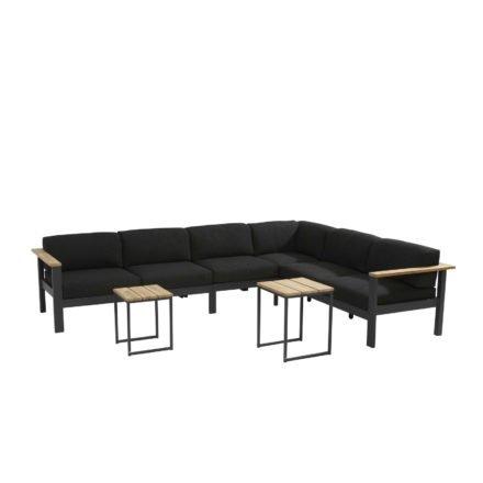 """4Seasons Outdoor Loungegruppe """"Orion"""" bestehend aus 3-Sitzer, 2-Sitzer, Mittelelement und Hocker mit Kaffeetisch """"Essence"""""""