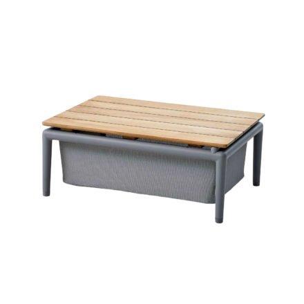 "Cane-line ""Conic"" Loungetisch mit Box, Aluminium hellgrau, Textilgewebe hellgrau"