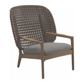 "Gloster High Back Lounge Chair ""Kay"", Gestell Teak, Geflecht Polyrattan brindle, Kissen Stoffgruppe B fife canvas grey"